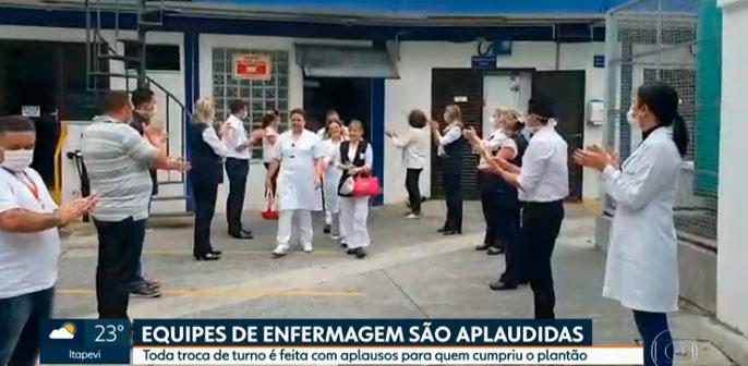 Salva de palmas para colaboradores do Hospital Christóvão da Gama é destaque no SPTV 1ª edição, da TV Globo
