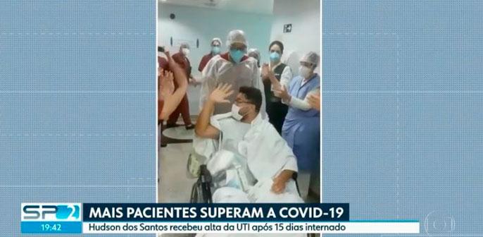 SPTV 2ª Edição: equipe médica do Leforte Liberdade dá alta a paciente de Covid-19 e se despede com salva de palmas