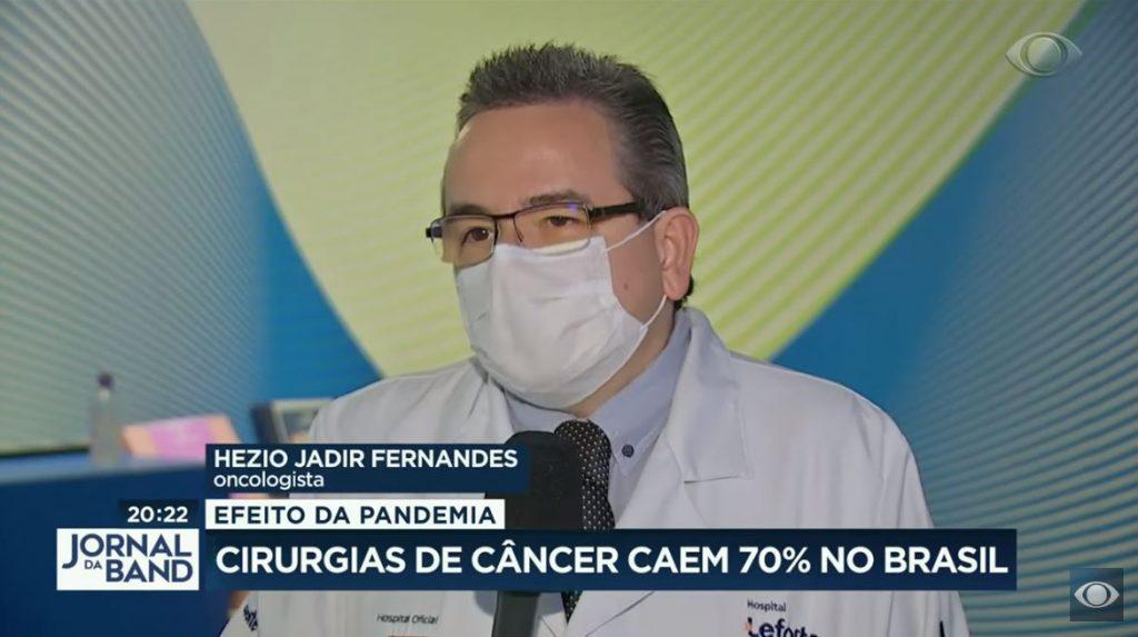 Dr Hezio Fernandes fala sobre fluxo de atendimento da clínica Lefore Oncologia em reportagem do Jornal da Band