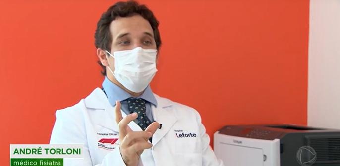 Andre Torloni, fisiatra do Centro de Coluna e Dor do Hospital Leforte Liberdade, fala sobre dor crônica na quarentena para o Fala Brasil, da Record TV