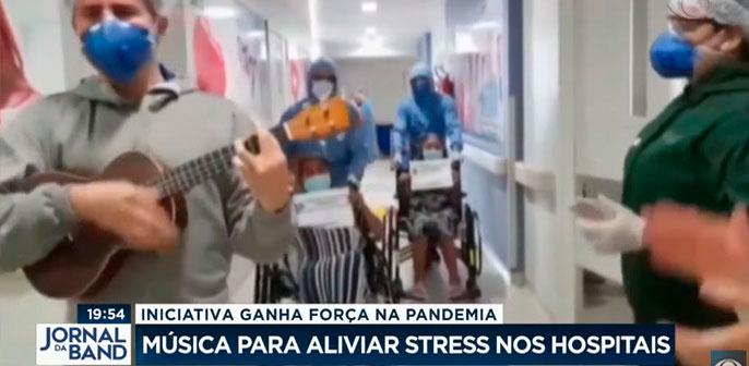 Música para aliviar pacientes e profissionais. HMCG é destaque em reportagem do Jornal da Band