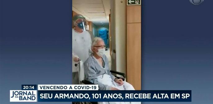 Alta do Sr Armando Fuim, de 101 anos, é destaque no telejornal Bora SP, da TV Bandeirantes