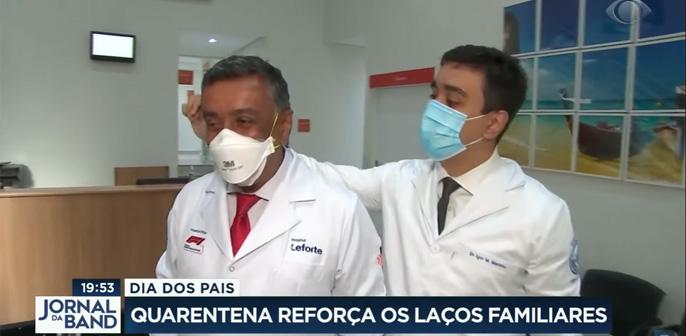 Ivan Marinho, diretor Clínico do Leforte Liberdade, é destaque ao lado do filho e sobrinho em reportagem do Jornal da Band sobre o Dia dos Pais