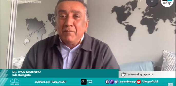 Dr. Ivan Marinho, infectologista do Hospital Leforte, fala sobre para a Rádio e TV Alesp sobre a eficácia do uso da máscara no combate ao novo coronavírus